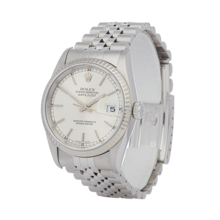Xupes Reference: W007520 Manufacturer: Rolex Model: Datejust Model Variant: 36 Model Number: 16234 Age: 2000 Gender: Unisex Complete With: Rolex Service Pouch Dial: Silver Baton Glass: Sapphire Crystal Case Size: 36mm Case Material: Stainless