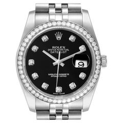 Rolex Datejust 36 Black Diamond Dial Bezel Unisex Watch 116244 Box Card