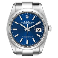 Rolex Datejust 36 Blue Dial Domed Bezel Steel Mens Watch 126200