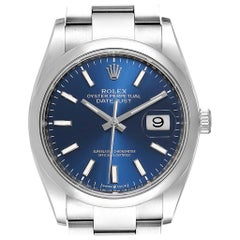 Rolex Datejust 36 Blue Dial Domed Bezel Steel Men's Watch 126200 Unworn