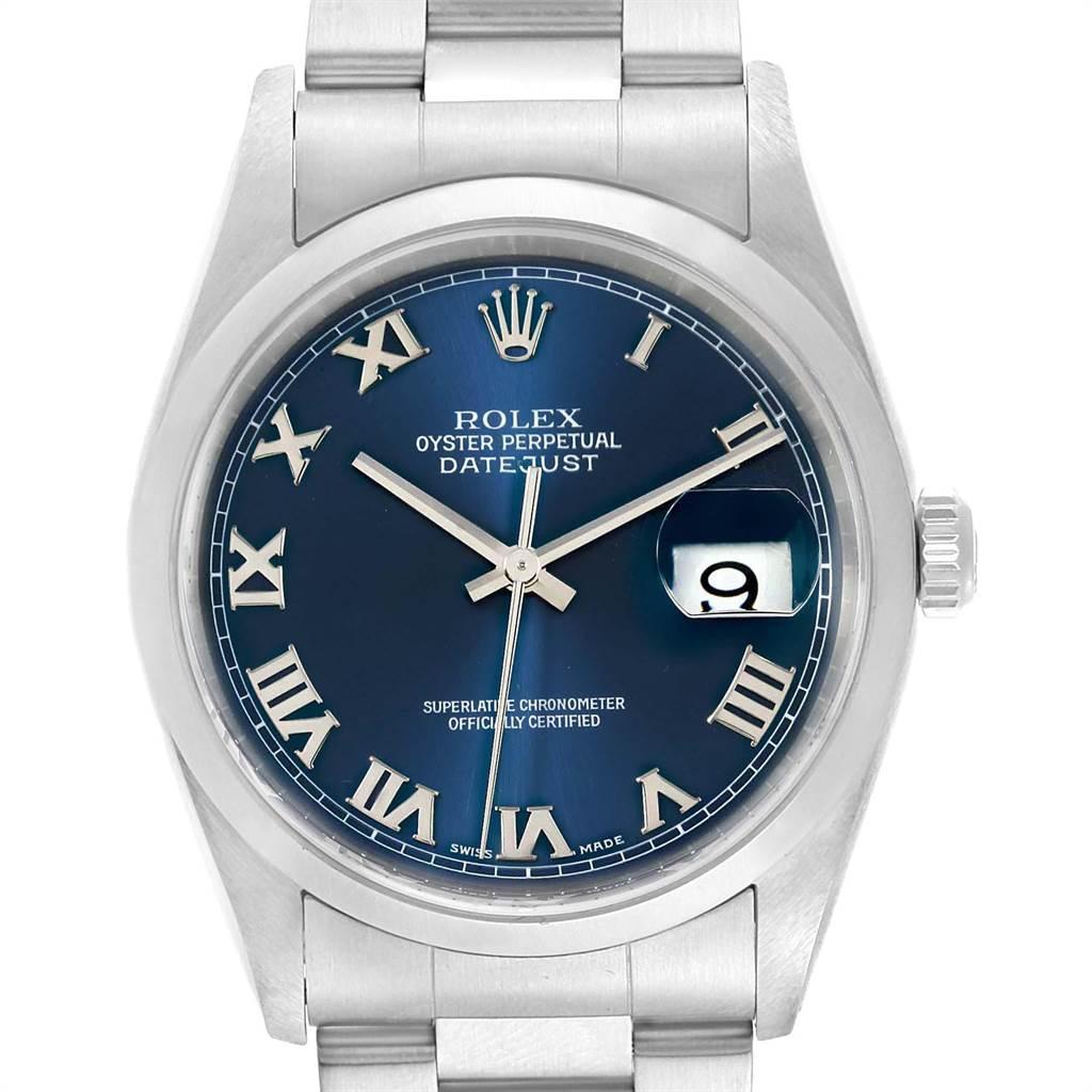 Rolex Datejust 36 Blue Dial Oyster Bracelet Steel Men\u2019s Watch 16200