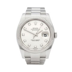 Rolex DateJust 36 Diamond 18 Karat Stainless Steel and White Gold 116234