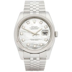 Rolex Datejust 36 Diamond Mother of Pearl Stainless Steel and White Gold 116234