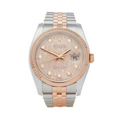 Rolex Datejust 36 Diamond Stainless Steel and Rose Gold 116231 Wristwatch