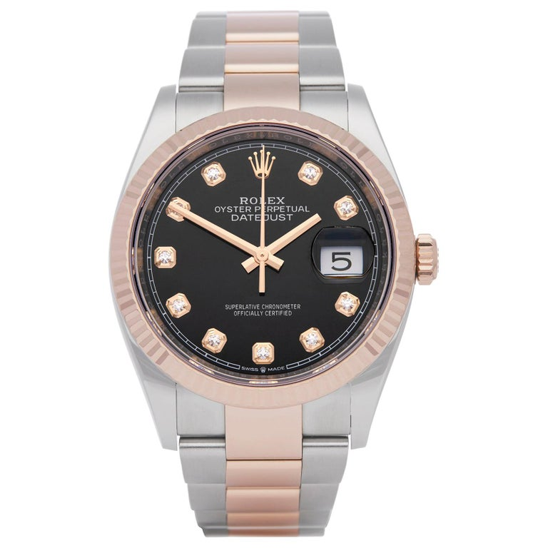 Rolex Datejust 36 Diamond Stainless Steel and Rose Gold 126231 For Sale