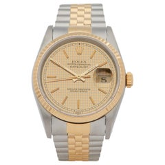 Rolex DateJust 36 Houndstooth Dial Stainless Steel and Yellow Gold 16233