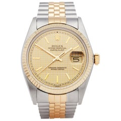 Rolex Datejust 36 Houndstooth Stainless Steel and Yellow Gold 16013
