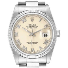 Rolex Datejust 36 Ivory Roman Dial Steel Men's Watch 16220