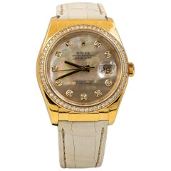 Rolex Datejust 36 Mother of Pearl and Factory Diamonds Dial 18 Karat Gold
