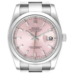 Rolex Datejust 36 Pink Baton Dial Steel Mens Watch 116200 Box Card