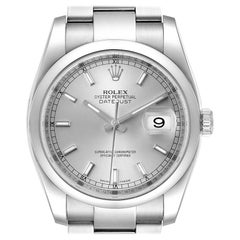 Rolex Datejust 36 Silver Baton Dial Steel Men's Watch 116200 Box Papers