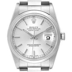 Rolex Datejust 36 Silver Baton Dial Steel Men's Watch 16200 Box
