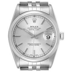 Rolex Datejust 36 Silver Baton Dial Steel Men's Watch 16200