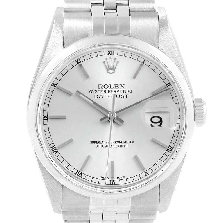 c809ac9a01b5 Rolex Datejust 36 Silver Dial Jubilee Bracelet Steel Mens Watch 16200.  Officially certified chronometer automatic
