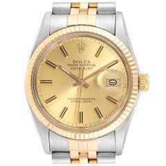 Rolex Datejust 36 Steel 18 Karat Yellow Gold Men's Watch 16233