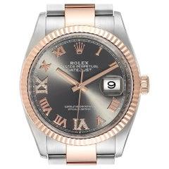 Rolex Datejust 36 Steel EveRose Gold Diamond Watch 126231 Box Card