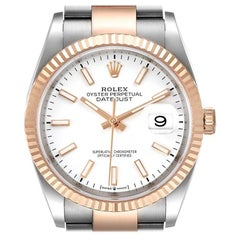 Rolex Datejust 36 Steel EveRose Gold White Dial Mens Watch 126231 Box Card
