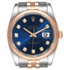 Rolex Datejust 36 Steel EverRose Gold Blue Diamond Dial Watch 116201