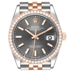 Rolex Datejust 36 Steel Rose Gold Diamond Unisex Watch 126281 Box Card