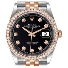 Rolex Datejust 36 Steel Rose Gold Diamond Unisex Watch 126281 Unworn
