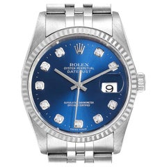 Rolex Datejust 36 Steel White Gold Blue Diamond Dial Men's Watch 16234