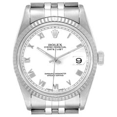 Rolex Datejust 36 Steel White Gold Fluted Bezel Men's Watch 16234 Box