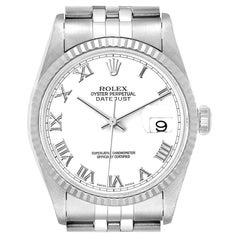 Rolex Datejust 36 Steel White Gold Fluted Bezel Men's Watch 16234