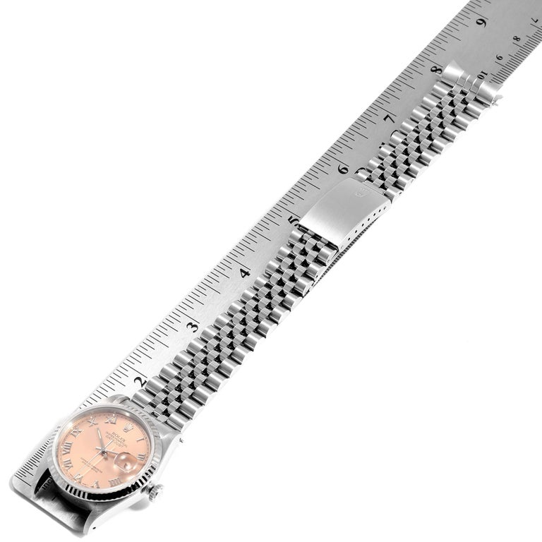 Rolex Datejust 36 Steel White Gold Salmon Dial Men's Watch 16234 For Sale 7