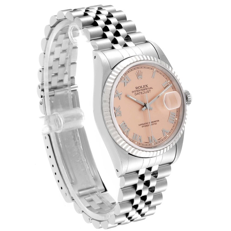 Rolex Datejust 36 Steel White Gold Salmon Dial Men's Watch 16234 In Excellent Condition For Sale In Atlanta, GA