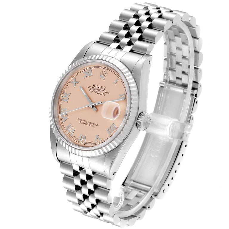 Rolex Datejust 36 Steel White Gold Salmon Dial Men's Watch 16234 For Sale 1