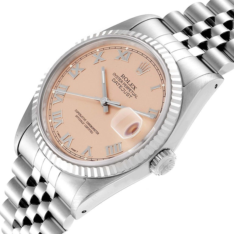 Rolex Datejust 36 Steel White Gold Salmon Dial Men's Watch 16234 For Sale 2