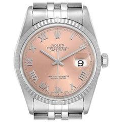 Rolex Datejust 36 Steel White Gold Salmon Dial Men's Watch 16234