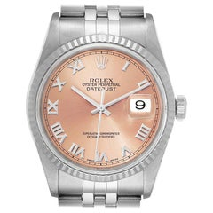 Rolex Datejust 36 Steel White Gold Salmon Dial Men's Watch 16234