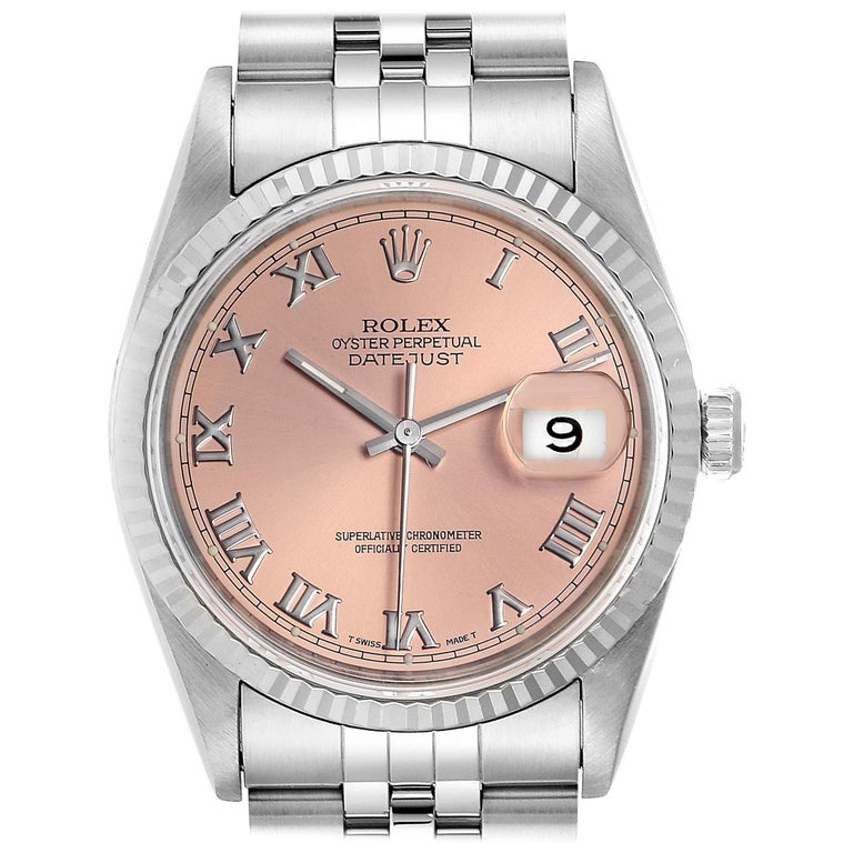 Rolex Datejust 36 Steel White Gold Salmon Dial Men's Watch 16234 For Sale