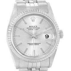 Rolex Datejust 36 Steel White Gold Silver Baton Dial Men's Watch 16234