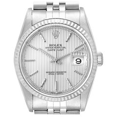 Rolex Datejust 36 Steel White Gold Tapestry Dial Men's Watch 16234