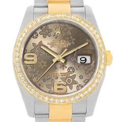 Rolex Datejust 36 Steel Yellow Gold Bronze Flower Dial Watch 116233