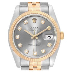 Rolex Datejust 36 Steel Yellow Gold Diamond Men's Watch 116233 Box