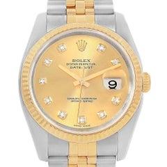 Rolex Datejust 36 Steel Yellow Gold Diamond Men's Watch 116233