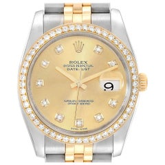 Rolex Datejust 36 Steel Yellow Gold Diamond Men's Watch 116243
