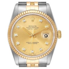 Rolex Datejust 36 Steel Yellow Gold Diamond Men's Watch 16233 Box