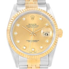 Rolex Datejust 36 Steel Yellow Gold Diamond Men's Watch 16233 Box Papers