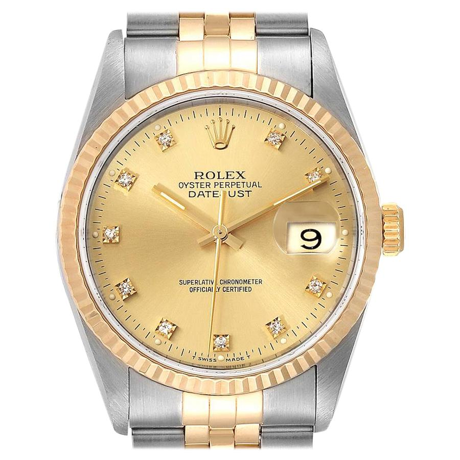 Rolex Datejust 36 Steel Yellow Gold Diamond Men's Watch 16233