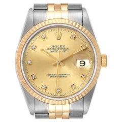 Rolex Datejust 36 Steel Yellow Gold Diamond Men's Watch 16233