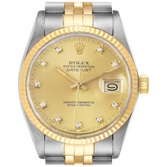 Rolex Datejust 36 Steel Yellow Gold Diamond Vintage Men's Watch 16013 Box
