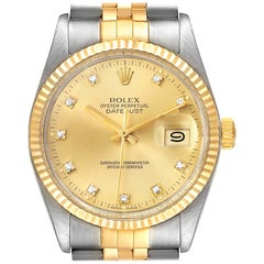 Rolex Datejust 36 Steel Yellow Gold Diamond Vintage Men's Watch 16013