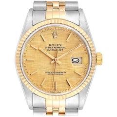 Rolex Datejust 36 Steel Yellow Gold Linen Dial Men's Watch 16233