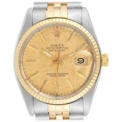 Rolex Datejust 36 Steel Yellow Gold Linen Dial Vintage Men's Watch 16013