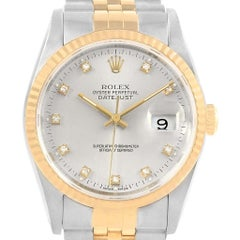 Rolex Datejust 36 Steel Yellow Gold Silver Diamond Dial Men's Watch 16233