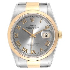 Rolex Datejust 36 Steel Yellow Gold Slate Dial Men's Watch 16203